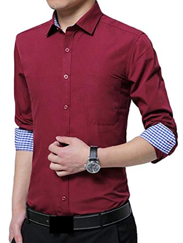 (Alion Men's Dress Shirt Long Sleeve Pointed Collar Button Down Shirt Wine Red XS)