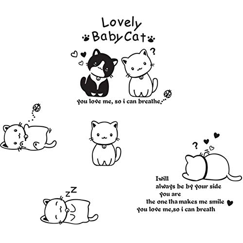 Hesuimaoyi Cute Black & White Cat Removable Vinyl Art Quote Wall Stickers DIY Room Decal Mural for Home Decoration (Finished Size 120110) -