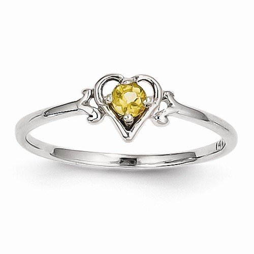 Genuine November Birthstone Heart Ring - 6