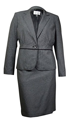 Le Suit Women's Plus-Size 1 Button Notch Lapel End On End Jacket and Skirt Set, Black, 14W