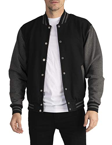 Pro Club Men's Varsity Fleece Baseball Jacket, Black/Charcoal, Medium