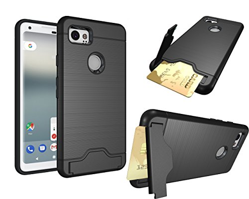 Pixel 2 Xl Card Slot Case   Brushed Lines Shockproof Multifunction Credit Card  Dual Layer Protection  Holder Hybrid Cover With Kickstand For Google Pixel 2 Xl  Pixel 2 Xl  Black