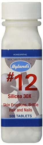 Hyland's Cell Salts #12 Silicea 30X Tablets, Natural Relief of Skin Eruptions, Brittle Hair & Nails, 500 Count