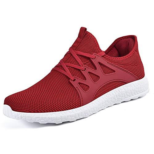 QANSI Uomo Scarpe Confortevoli da Corsa Sneakers Sportivi Leggeri Scarpe da Ginnastica Red-white