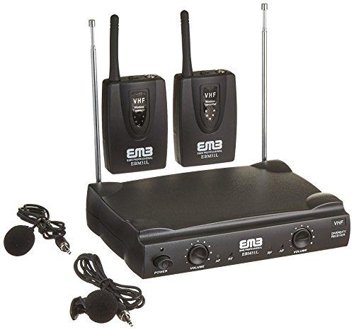 EMB VHF EBM51L Professional Dual Wireless Lavalier Microphone System