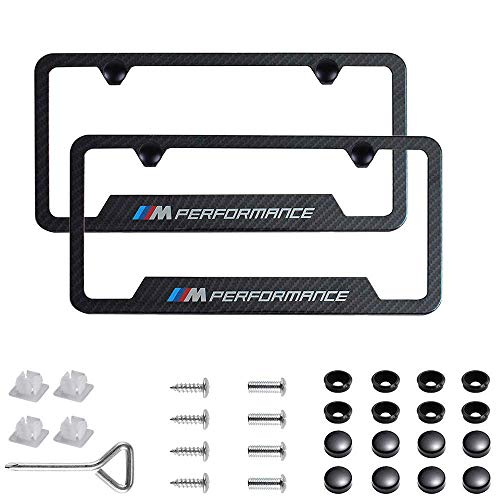 - jiayuandz 2pcs M Performance Logo License Plate Stainless Steel Frame with Carbon Fiber Textured Glossy Finish Logo for BMW (M Performance)