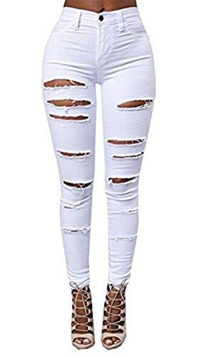 Women Skinny Stretch Denim High Waist Trousers Leggings Jeans Pants Plus Size (M, White)
