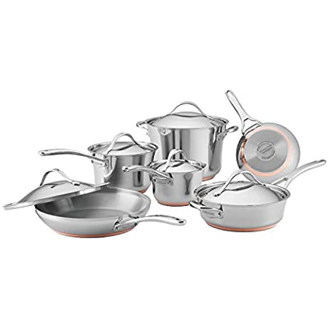 Anolon 11 Piece Nouvelle Copper Stainless Steel Cookware Set Silver