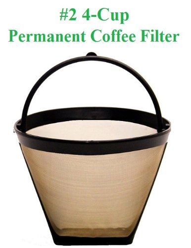 4-Cup Cone Shape Permanent Coffee Filter fits Mr. Coffee 4 Cup Coffeemakers GoldT CECOMINOD008550
