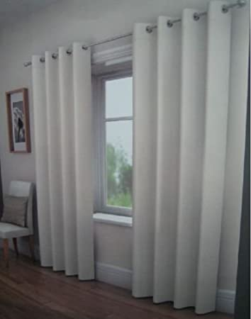BOUCLE PLAIN FULLY LINED EYELET CURTAINS 66u0026quot; WIDE X 90u0026quot; DROP OFF  WHITE NATURAL