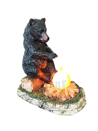 Large Black Bear By The Campfire Table Night Light - Rustic, Cabin, Lodge, Country Decor by DeLeon Collections (Image #2)