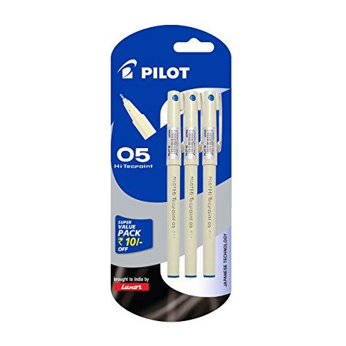 Pilot Hi-Techpoint 05 Super Value Pen – Pack of 3, Blue