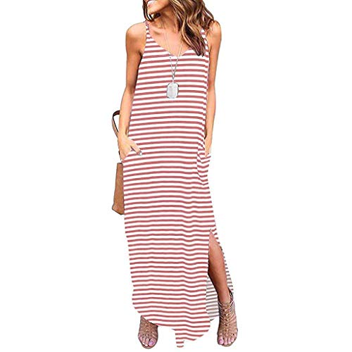 (Witspace Women Summer Sexy Casual Strappy Stripe Sleeveless Loose Beach Maxi Long Dress)