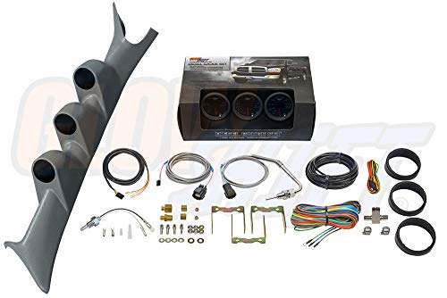 GlowShift Diesel Gauge Package for 1999-2007 Ford Super Duty F-250 F-350 6.0L 7.3L Power Stroke - Tinted 7 Color 60 PSI Boost, 1500 F Pyrometer EGT & Transmission Temp Gauges - Gray Triple Pillar Pod ()