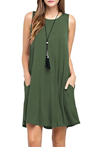 TOPONSKY Women's Sleeveless Pockets Casual Swing T-Shirt Dresses (M, ArmyGreen) - Organic Swing Dress