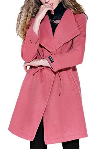 BoBo-88 Cappotto Di Transizione Donna Elegante Primaverile Autunno Leggero Maniche Lunghe Giaccone Coulisse Monocromo Especial Estilo Outwear Coat Prodotto Plus Pink