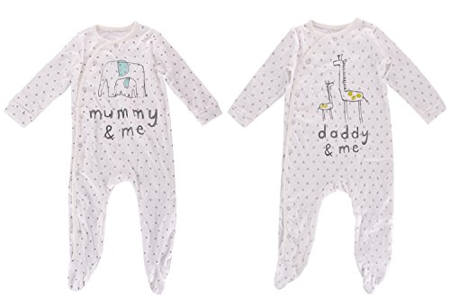 Baby Boys & Grils Rompers, Infant Outfits, 2pcs Footed Jumpsuit Sets (12-18 Months)