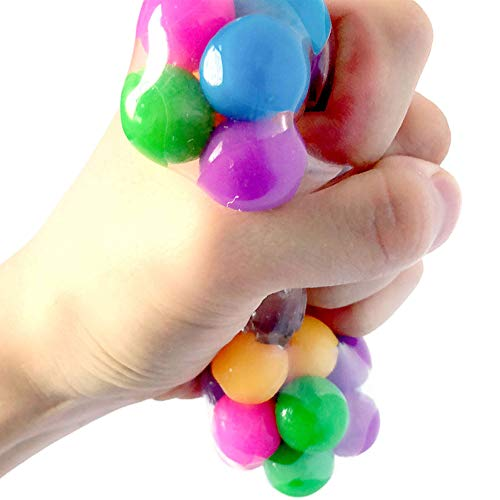 Squishy Rainbow Stress Ball Fidget Toy with Colorful Beads Inside Relieve Stress Anxiety Hand Exercise Tool for Kids Adults Colorful, Barbed