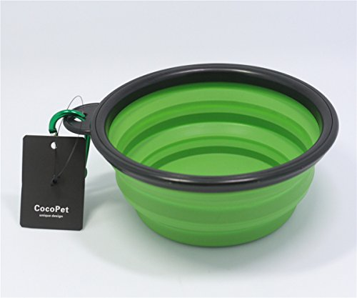 COCOPET Outdoor Pet Dog Silicone BPA Free Foldable Water Travel Bowl - 5.1 inches Retractable Travel Protable Water Cup Dish with a Metal Carabiner for Dogs & Cats Green