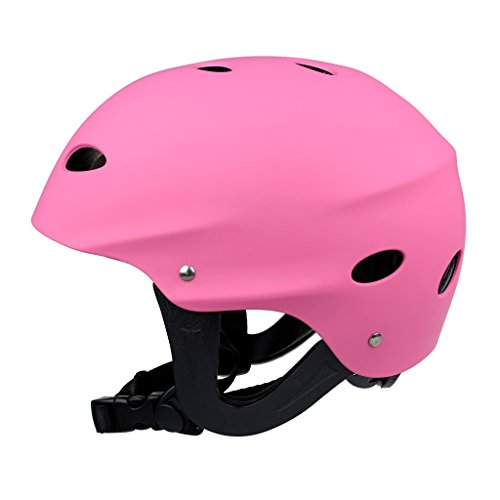 Fenteer Safety Helmet Hard Head Portector for Kite Surfing Kayak Canoe Raft Paddleboard Wakeboard Water Sports - Pink - Adjustable by Fenteer