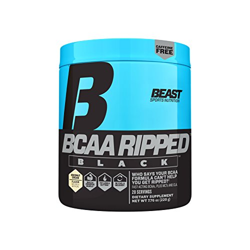 Beast Sports Nutrition BCAA Ripped Black: Fast Recovery BCAA, Amino Energy Weight Loss Supplement, Cutting Powder ft. Instantized BCAA, MCT Oil – Get Shredded & Build Muscle, Coconut Cream, 20 srv