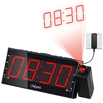 "OnLyee 1.8"" LED Dimmable Projection Clock Radio with AM/FM Radio,USB Charging,Dual Alarm,Battery Backup,Sleep Timer,Snooze"
