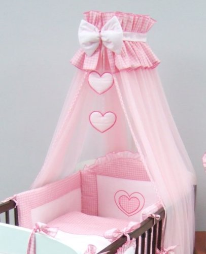 7 Piece Baby Canopy Bedding Set (To Tit COT BED 140 x 70 cm) Embroidered Hearts - PINK BabyComfort
