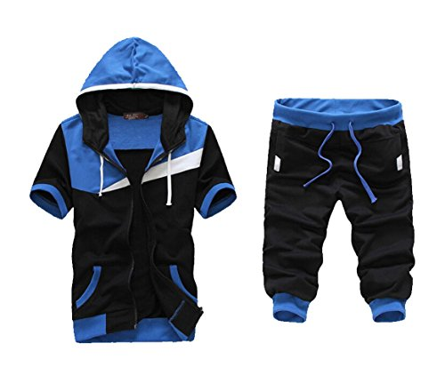 Meilaier Mens Sports Set Hoodie Zipper Short-sleeved Coats Middle Pants Suit (XL, Blue) ()