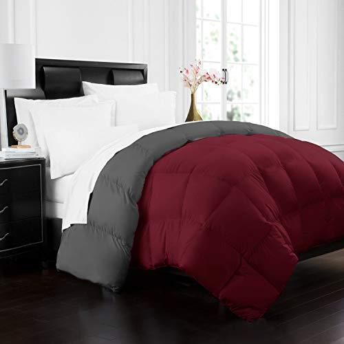 Beckham Hotel Collection 1700 Series Luxury Goose Down Alternative Reversible Comforter - Premium Hypoallergenic - All Season - Duvet - King/Cal King - Burgundy/Grey