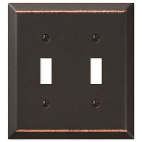 Amerelle 163TTDB Traditional Steel Wallplate with 2 Toggle, Aged Bronze Antique Bronze Wall Plate