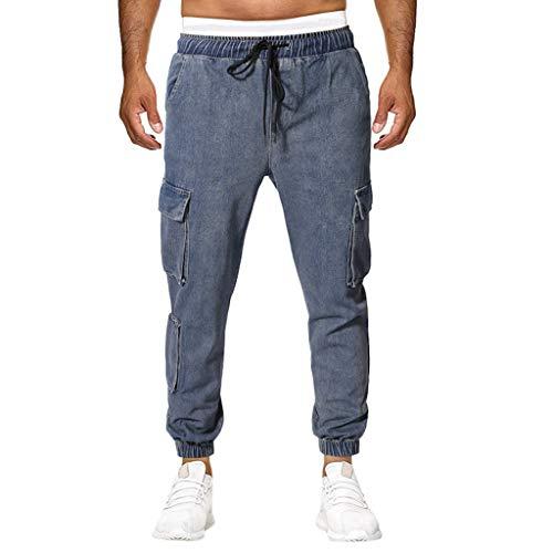 iYYVV Summer New European American Mens Multi-Pocket Casual Sport Long Jeans Pants Dark Blue