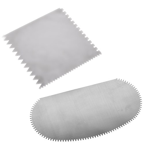 (BCP Set of 2 Stainless Steel Serrated Scraper Crafts Tool for Sculpture Ceramic)