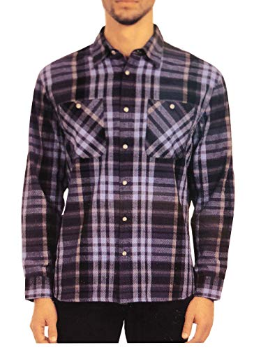 Jachs Men's Long Sleeve Brawny Plaid Flannel Shirts (Navy Plaid, X-Large) ()