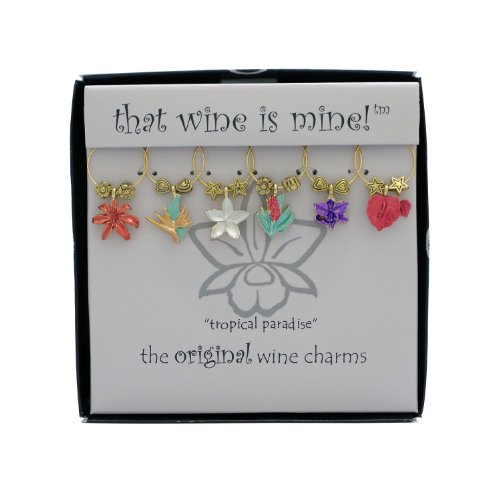 Wine Things 6-Piece Tropical Paradise Wine Charms, Painted by Wine Things