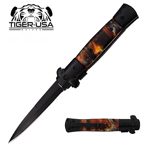 "9"" Fire Marble Handle and Black Blade Assisted Open Godfather Milano Pocket Knife"
