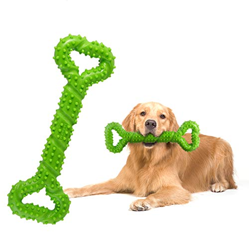 Petyoung Durable Dog Chew Toys 13 Inch Bone Shape for Aggressive Chewers, Interactive Toy for Small Medium and Large Dog with Strong Tug Convex Design Tooth Cleaning (Green)