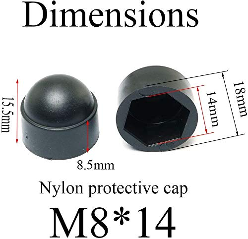 jiayouxile Black Hexagon Dome Nylon Bolt Nut Protection Cover,M8 Hexagon Screws Waterproof Cover 30 Pcs,Black 14/×16mm