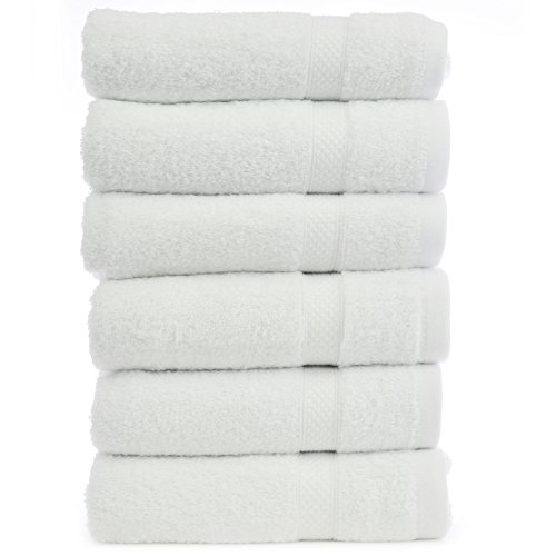 Luxury Hotel & Spa Towel Turkish Cotton Hand Towels - White -Bamboo - Set of 6