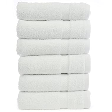 Chakir Turkish Linens Turkish Cotton and Bamboo Rayon Hand Towel (Set of 6) - White