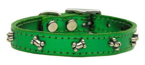 - Mirage Pet Products Metallic Bone Leather Emerald Dog Collar, 14