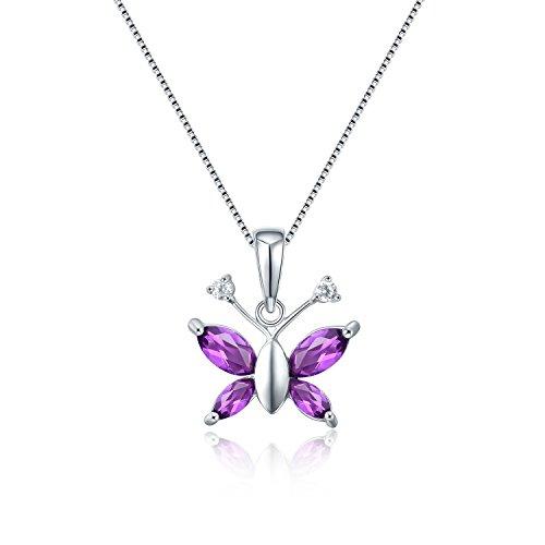 Aurora Tears Elegant Purple Created Amethyst Butterfly Birthstone Water Drop Pendant Necklace, 18