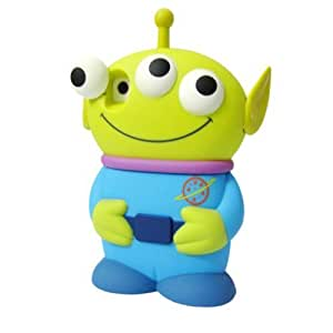 niceEshop(TM) Blue Disney 3D 3 Eyes Toy Story Alien Movable Eye Hard Case Cover For iPhone4/4S +Screen Protector