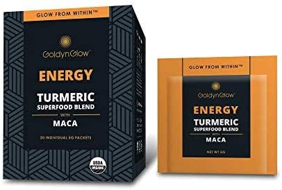 GoldynGlow Energy - Organic Turmeric Superfood Blend w/MACA (20 Count) Helps with Adrenal Health and Fatigue. Golden Milk Elixir, Mix in Juice and Smoothies. Non-GMO, Vegan, Gluten-Free Adaptogen