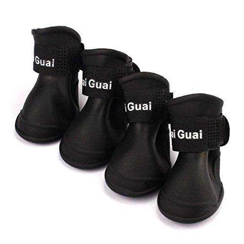 Bestpriceam(tm) 4 Pcs Dog Candy Colors Boots Waterproof Rubber Pet Rain Shoes Booties (M, Black)