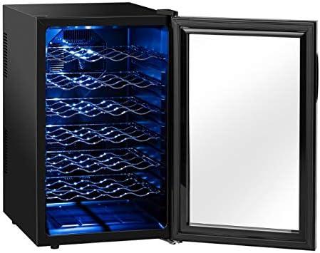 Royal Catering Nevera Para Vinos Vinoteca RCWI-70L (130 W, 6 estantes, 70L, 11-18 °C, Carcasa: Acero, Puerta con doble acristalamiento) Negro[Clase de eficiencia energética B]