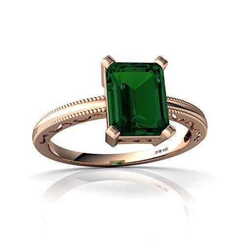 14kt Rose Gold Lab Emerald 8x6mm Emerald_Cut Milgrain Scroll Ring - Size 5 ()
