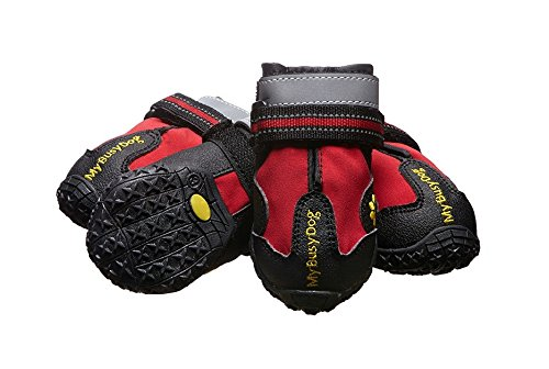 My Busy Dog Water Resistant Dog Shoes with Reflective Velcro and Rugged Anti-Slip Sole | Size Chart in Pictures (Size 2, Red)