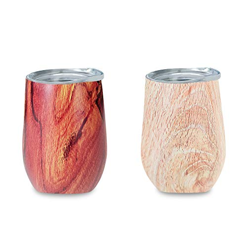 Zen lnspired Wood & Bamboo Print Double Insulated Stainless Steel Wine Tumbler, Environmental Friendly, Unbreakable Perfect For Wine, Coffee, Tea, Indoor Or Outdoor, Bonus Pack 2 In A Set, 12oz by Glorifiv (Image #8)