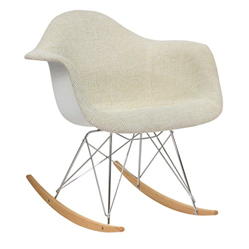 LeisureMod Wilson Twill Fabric Eiffel Rocking Chair in Beige by LeisureMod