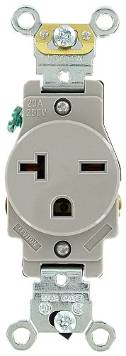 Leviton 5461-GY 20 Amp, 250 Volt, Industrial Heavy Duty Grade, Single Receptacle, Straight Blade, Self Grounding, Gray